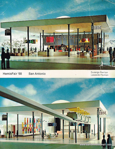 Postcard from HemisFair '68 in San Antonio showing the Durango and Lakeside Pavilions.
