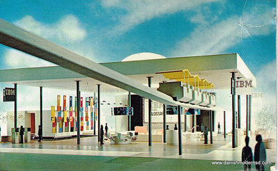 Postcard photo of the Lakeside Pavilion with PeopleMover at HemisFair '68 in San Antonio.